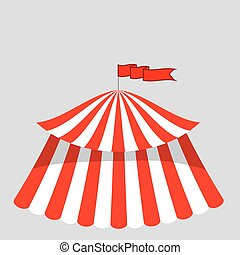 Circus Tent Icon Isolated on Grey Background.