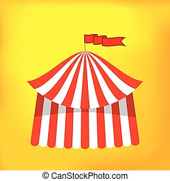 Circus Tent Icon Isolated on Yellow Background