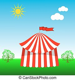 Circus Tent Icon on Blue Sky Background