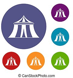 Circus tent icons set