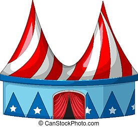 Circus tent in blue and red