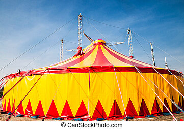 Circus tent - Red and yellow striped circus tent with blue...