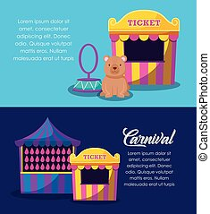 circus tent sale ticket with set icons