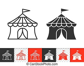 Circus Tent simple black line vector icon