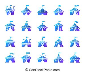 Circus Tent simple gradient icons vector set