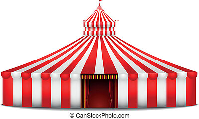 circus tent - detailed illustration of a red and white...