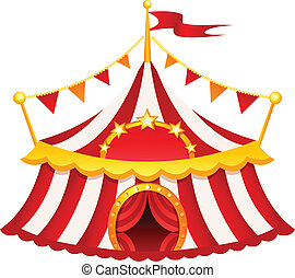 Circus tent  sc 1 st  Can Stock Photo & Cartoon circus tent with stripes and flags isolated. ideal ...