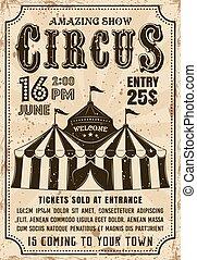 Circus tent vector invitation retro style poster