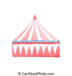 Circus tent. Watercolor red and white tent on the white...
