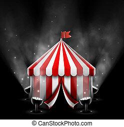 Circus tent with spotlights, eps 10