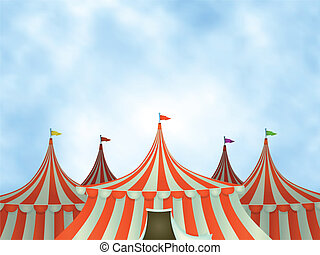 Illustration of cartoon circus tents on a blue sky background