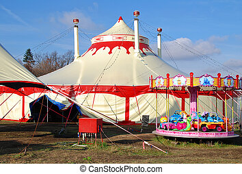 Circus tents in Prague with children carousel