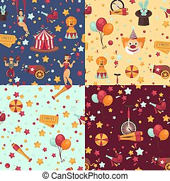 Circus themed bright seamless patterns set with equipment and performers