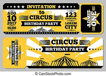 Circus ticket birthday card vector mockup. Invitation to...