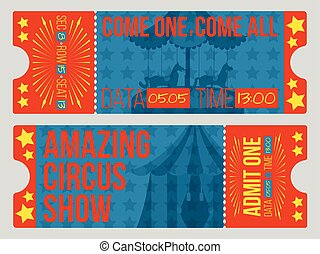 Circus tickets. Vintage Vector illustration.