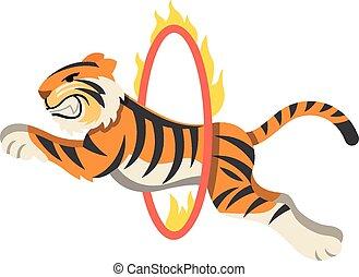 Circus tiger jumping through flaming hoop