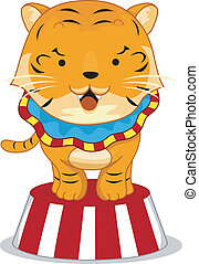 Cartoon Illustration of a Circus Tiger on top of a Circus Platform