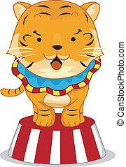 Circus Tiger on Platform - Cartoon Illustration of a Circus...