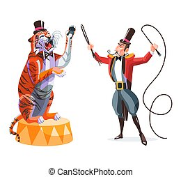 Circus trainer and tiger on a pedestal.
