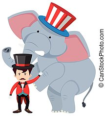 Circus trainer and wild elephant