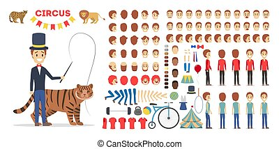 Circus trainer character set for the animation with various views