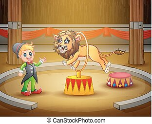 Circus trainer performs a trick along with lion in arena