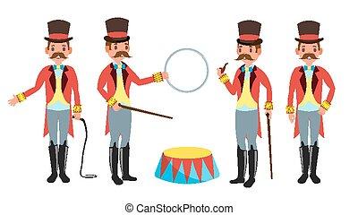 Circus Trainer Vector. Whip In His Hand. Classic Black Hat. Retro Flat Cartoon Illustration