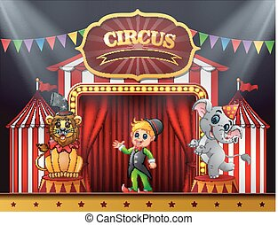 Circus trainer with elephant and lion on the stage