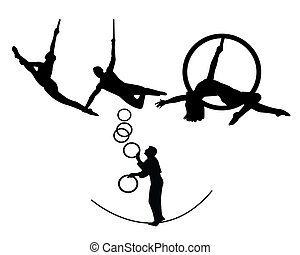 circus trapeze artists on a white background