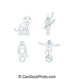 Circus vector line art icons