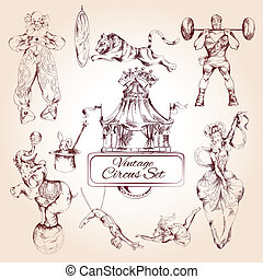 Circus vintage icons set