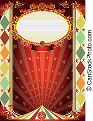 circus vintage rhombus poster - New circus background for a...
