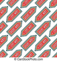 Circus vintage signboard labels seamless pattern background vector illustration entertaining ticket sign