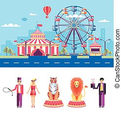 Circus with animal trainers and magician - Set stock vector...