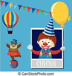 Circus with Bear and Clown on Blue Background