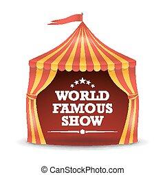 circustent, vrijstaand, vector., rood en geel, stripes., groot bovenst, circus, tent., carnaval, feestdagen, concept, illustratie