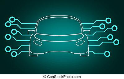 circut, voiture, signal, autonome