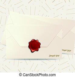 cire, enveloppe, rouges, cachet
