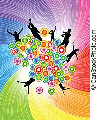 cirkel, abstract, vector, achtergrond, kleurrijke