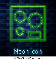 cirkel, achtergrond., vector, teken., vier, elektrisch ...