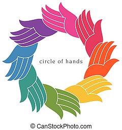 cirkel, anders, kleurrijke, handen
