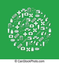 cirkel, apotek, iconerne