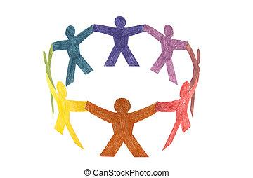 cirkel, av, färgrik, folk