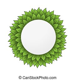 cirkel, bladeren, frame