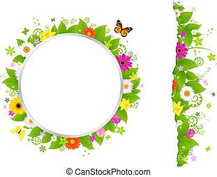 cirkel, bloemen, grens