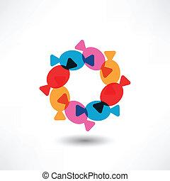 cirkel, candys, gekleurde, pakpapier