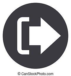 cirkel, concept, logout, pictogram