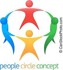 cirkel, concept, mensen, team
