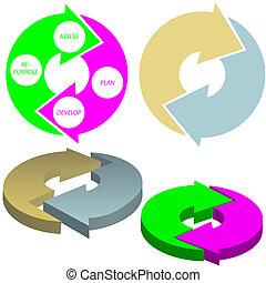 cirkel, concept, pijl, set, cyclus