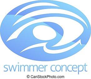 cirkel, concept, zwemmen
